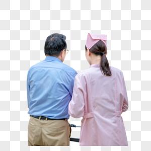 护士照顾病人背影图片