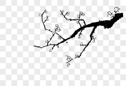 白梅冬季写意手绘元素图片