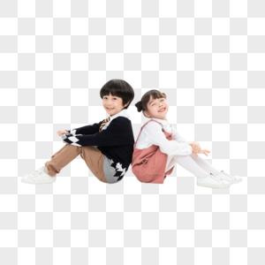 小男孩小女孩背靠背坐着图片
