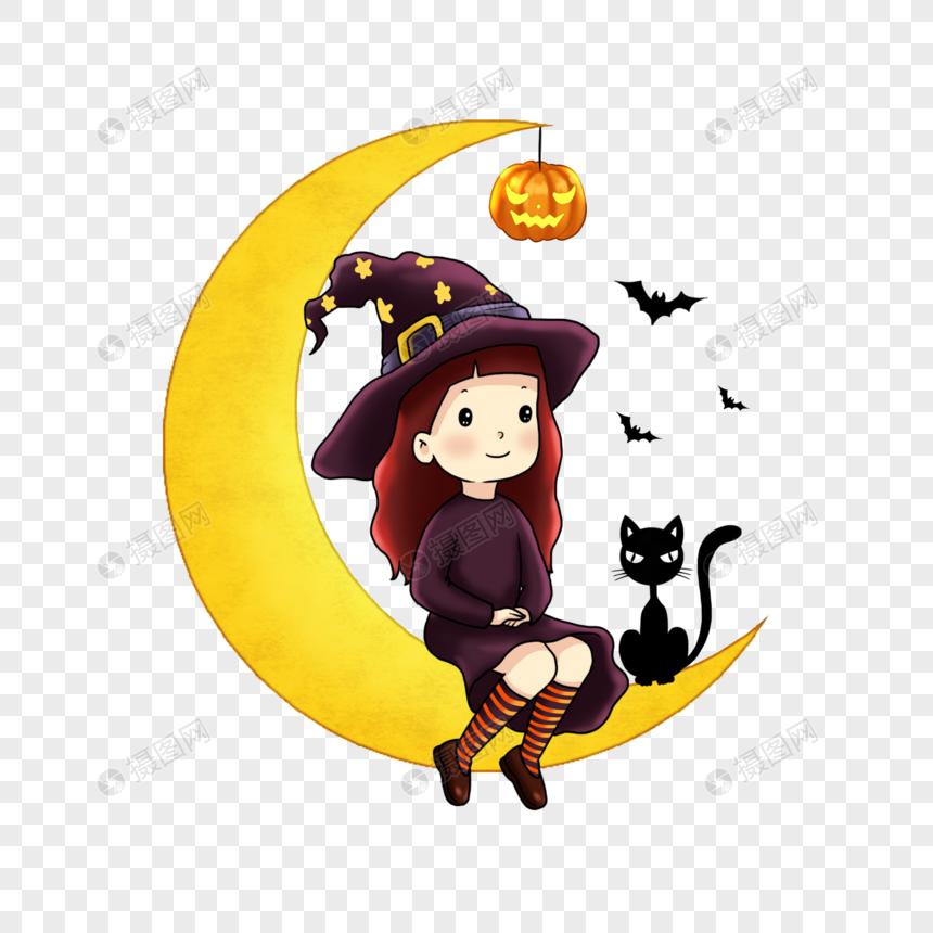 月亮上的小女巫和黑猫图片