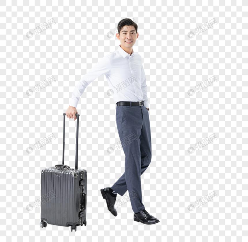 商务男性推着行李箱图片
