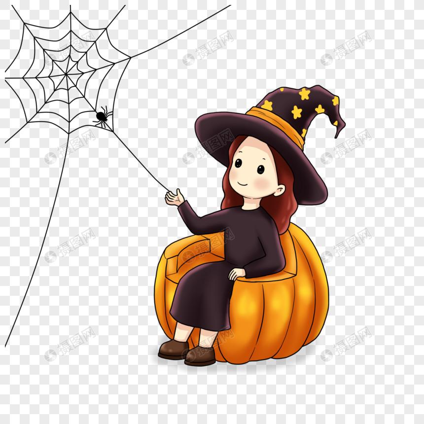 小女巫和蜘蛛图片