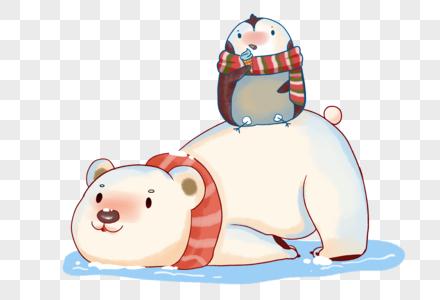 冬天北极熊与企鹅吃冰激凌图片