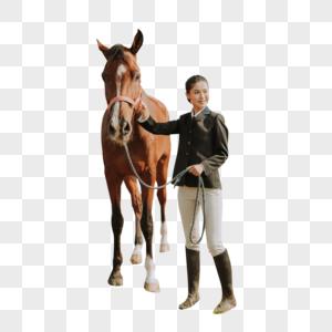 青年女性牵马图片