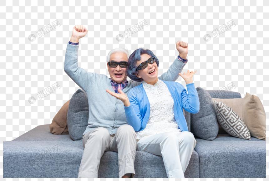 戴3D眼镜的老年人形象图片