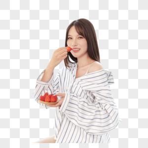 女性吃水果图片