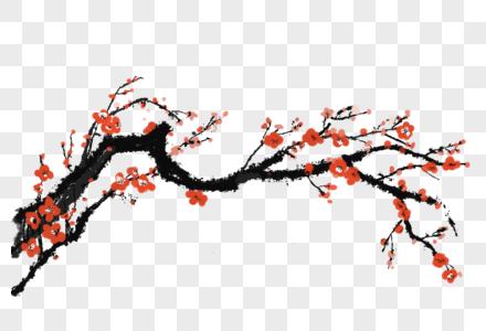 红梅手绘中国风元素图片