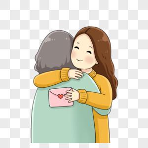女孩拿着感谢信拥抱妈妈图片