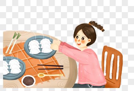 立冬吃饺子的女孩图片