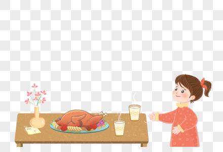 感恩节吃火鸡的女孩图片