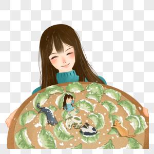 抱着饺子的女孩图片