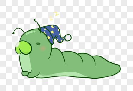 打瞌睡的毛毛虫手绘图片