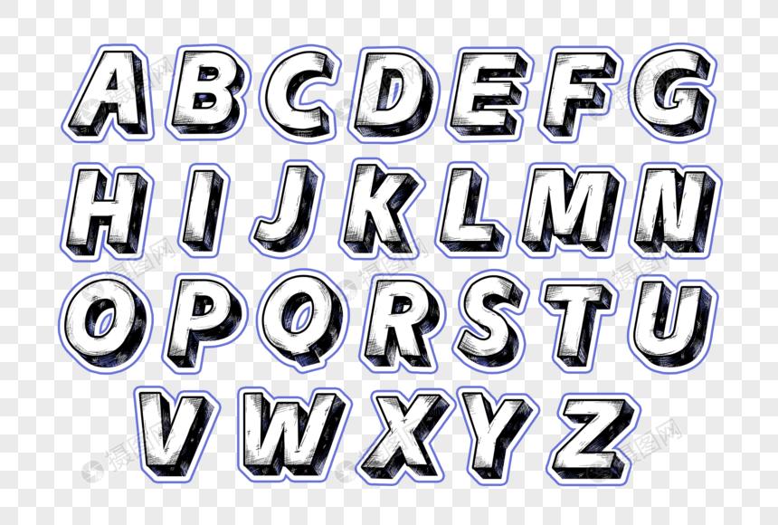 二十六个大写英文字母卡通字效设计图片