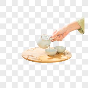 古风素衣美女泡茶图片