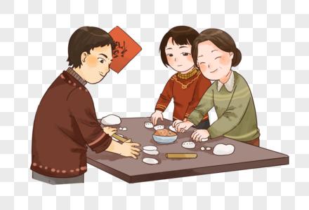 新年春节一家人包饺子图片
