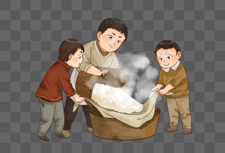 春节新年一家人做年糕图片