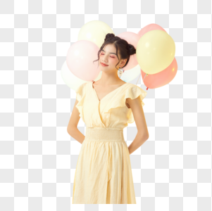 可爱少女拿气球图片