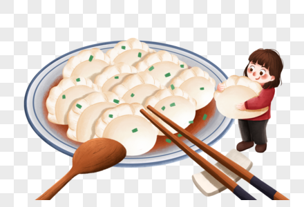吃饺子的女孩图片