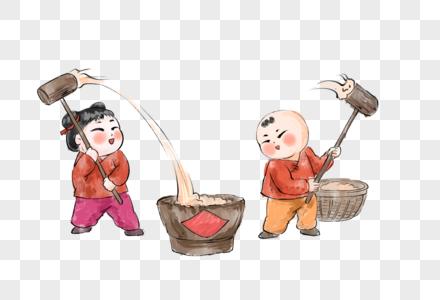 春节打年糕图片