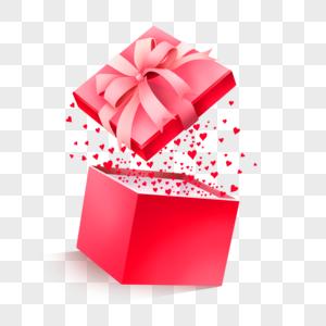 粉色丝带爱心礼物盒图片