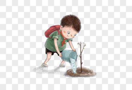 植树节小男孩浇树苗图片