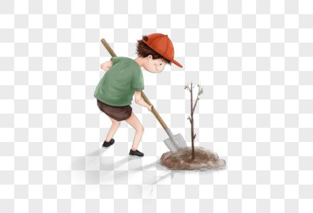 种树的男孩图片