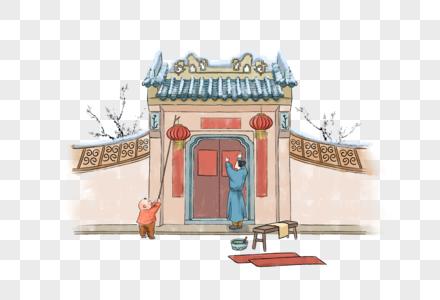 春节贴春联图片