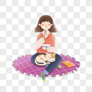 坐着吃饺子的女孩图片