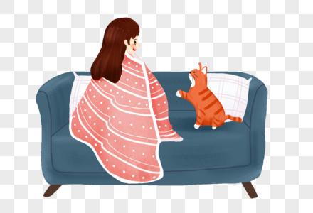 沙发上的女孩和猫图片
