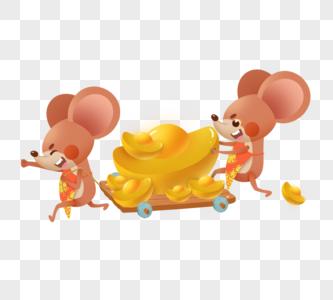 可爱老鼠运金元宝图片