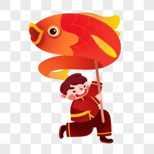 拿鱼灯传统孩童图片