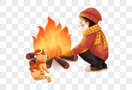 烤火的男孩图片