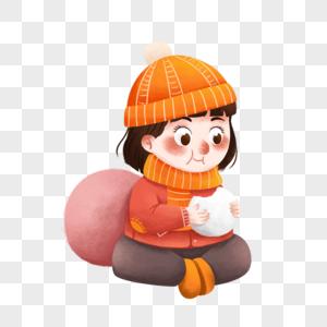坐着吃汤圆的女孩图片