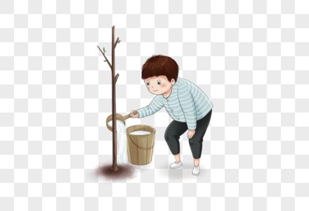 男孩浇树图片