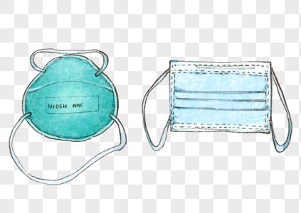 手绘N95与医用外科口罩图片