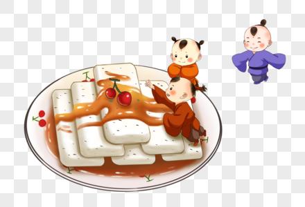 春节吃年糕的孩子图片