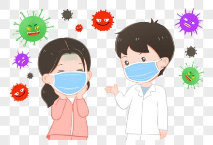 戴口罩预防冠状病毒图片