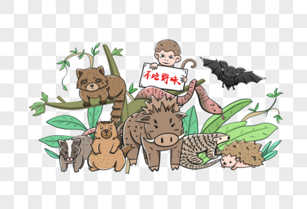 不吃野生动物预防病毒肺炎图片