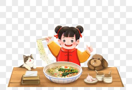 女孩在面馆吃龙须面图片