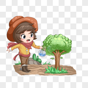 小牛仔植树图片