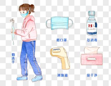 手绘消毒防护标示图片