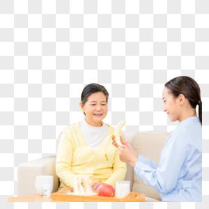 护工剥香蕉给老奶奶吃图片