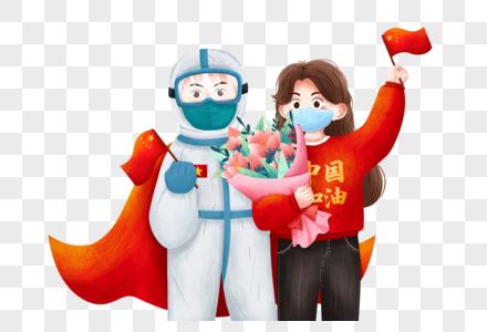 战疫情医护人员与病人出院图片