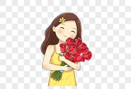 抱着玫瑰的女孩图片
