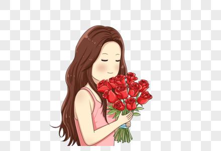 拿着玫瑰的女孩图片
