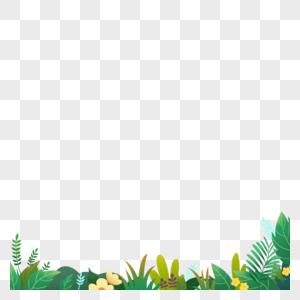 春天花草盛开卡通元素图片