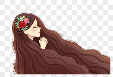 许愿的长发女孩图片