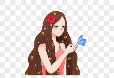 女孩和蝴蝶图片
