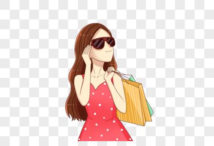 时尚女孩购物图片