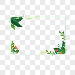春天小清新绿叶边框元素图片